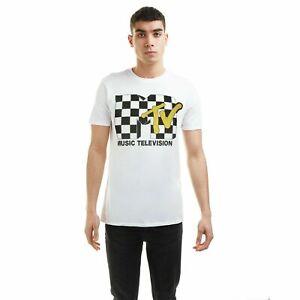 Officially Licensed MTV Men's Check Logo T-Shirt in WHITE Size MEDIUM