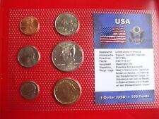 USA 1 x Coinset mit 1 Dollar Washington eingeschweißt sealed Kennedy half Dollar
