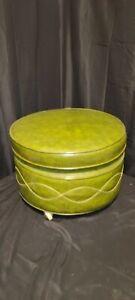 Vintage Retro Mid Century Style Round Vinyl Ottoman Footstool Green 20x15
