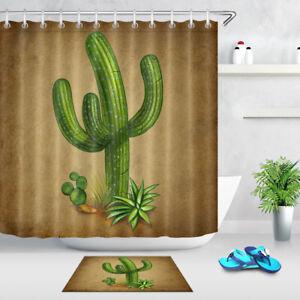 Cactus Tree Mexican Symbol Shower Curtain Set Bathroom Waterproof Fabric & Hooks