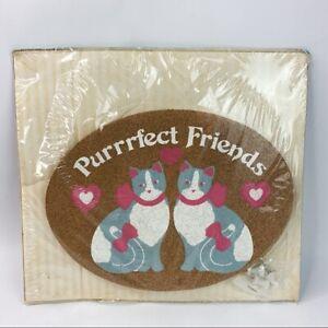 Vintage Happy Corkers Cats Purrrfect Corkboard