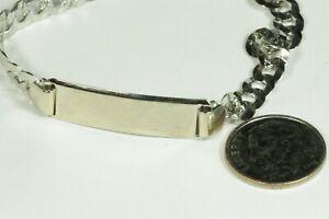 "7.5"" Blank ID Bracelet 14K White Gold 9 Grams Curb Link Lobster Tecnigold"