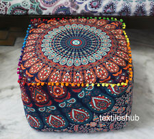 """New 22"""" Square Indian Mandala Ottoman Pouf Cover Footstool Home Decorative Case"""
