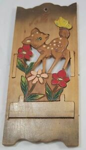 VIntage Kitsch Fold Out Irene Series Deer Wooden Letter Rack