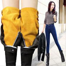 6858 Women's Winter Classic Jeans Warm elastic Fleece Pants Trousers Plus velvet