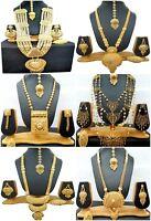 22K Gold Plated Indian Long Necklace Earrings Variation Design Set Wedding
