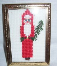 Completed Cross Stitch Old Fashioned Santa Christmas Tree Framed Handmade