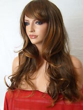 Light brown ombre Fashion Long Wavy Costume real natural Lady womens Full WIG D3