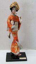 Japanese Nishi Doll on Stand Orange Kimono Cloth Face Hat Instrument Vintage