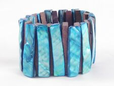 Brand New Mother of Pearl Shell & Wood Stretch Bracelet #B1192