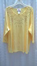 Quacker Factory Starburst Pearl 3/4 Sleeve Yellow Knit Top Size 2X