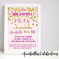 Princess 1st Birthday Time Capsule Pink & Gold Confetti - Print Invite Party