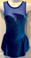 GK SLVLS OCEAN VELVET LADIES X-SMALL ICE FIG SKATE ASYM MESH YOKE JA DRESS AXS