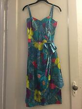 VINTAGE MILDRED'S OF HAWAII BRIGHT FLORAL ZIP BACK SIDE SMOCKED SARONG DRESS NOS