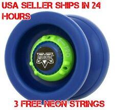 Blue Velocity Yo Yo From The YoYo Factory Plus 3 Extra Neon Strings YEL/ORG/GRN