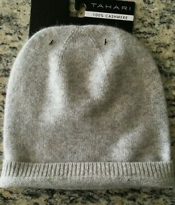 TAHARI Women's Girls One size 100% CASHMERE Soft med knitted Ivory Grey Beanie