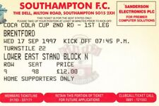 Ticket - Southampton v Brentford 17.09.97 League Cup