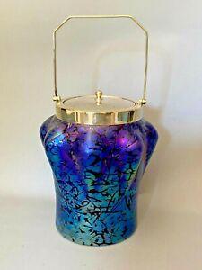 ANTIQUE ART NOUVEAU KRALIK CRACKLE LUSTRE GLASS BISCUIT BARREL