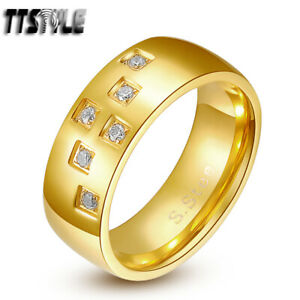 TTstyle 8mm Stainless Steel Wedding Anniversary Band Comfort fit Ring Gold