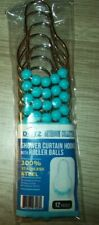 DOTZ Turquoise Roller Shower Curtain Stainless Hooks Set of 12 Shower Rings