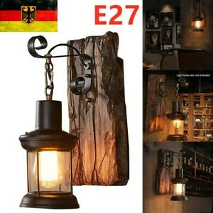 Antik Retro Vintage Industriell Holz Wandleuchte Lampe Wandleuchter Licht Neu!