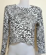 BARDOT JUNIOR Midriff Leopard Print Black White Long Sleeves Crop Top