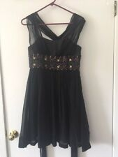 French Connection FCUK Halter Beaded Black Cocktail Formal Dress sz 4  NWT $188