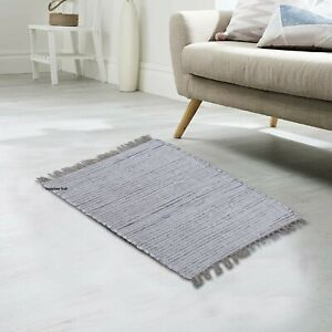 Rug 100% Natural Cotton 2x3 Feet Area Rug Home Decor Chindi Carpet Door Mat Rug