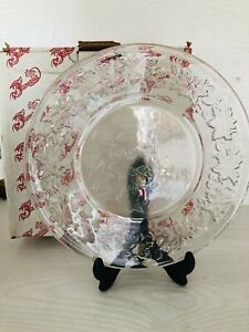 """4 Princess House Glass Fantasia Pattern 10"""" Dinner Plates # 511~ New In Box"""