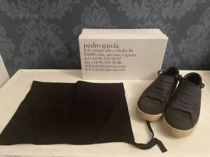 Pedro Garcia Spain Perry Designer Fat Lace Sneaker Navy Blue Suede EU 40 UK 6