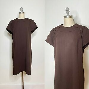 Vintage 60s Brown Double Knit Polyester Shift Dress Size Extra Large
