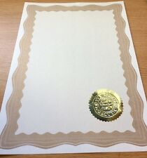 30 A4 Paper Plain Certificates With Gold Border & 30 Gold Embossed Virtus Seals