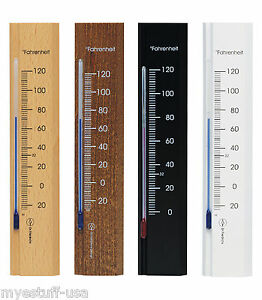 Wooden Analog Wall Thermometer Fahrenheit Scale Beech Wood 7.8 inch tall