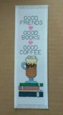 """Completed Cross Stitch Bookmark """" Good Books, Good Coffee """"New!"""