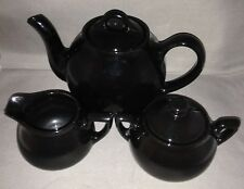 Black Lipton Teapot with Matching Cream and Sugar made by Hall China