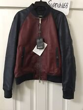 DSQUARED2 Contrasted Leather Bomber Jacket Size : M  ( IT 48 )