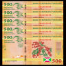 Lot 5 PCS, Burundi 500 Francs, 2015, P-50 New, UNC>New Design Crocodile