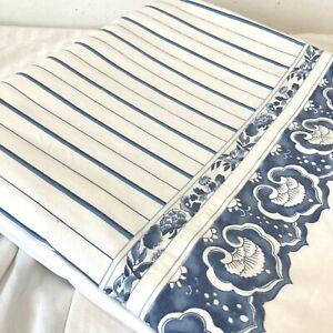 Ralph Lauren Jonquil Porcelain Blue White Striped KING Size Flat Sheet 106X102