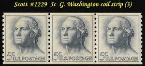 RJames: US 1229 5c  G. Washington coil strip (3), MNH, VF