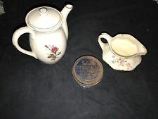 Teapot & Cream Pitcher, Floral Tea Pot And Pitcher, Glass Jar