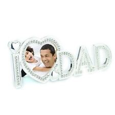 """Shatchi I Love Dad Photo Frame 3"""" x 3"""" Gifts Silver Metal with Diamond Frame"""