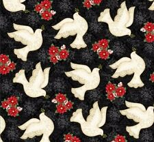 Winter Bliss Cotton Doves Black Fabric Studio E 3246-99 by the  half yard