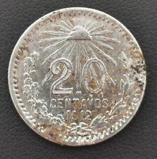 México Silver Coin Scarce Key date 20 centavos 1912 KM#435