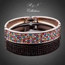 18K Rose GP Made With Swarovski Crystal Paved Cuff Bangle Bracelet B457-26