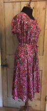 GORGEOUS Vintage 1980s ? Does 1940s  Pure Silk Tea Dress .. UK 8/10