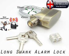 Long Shank Golden Security Alarm Activated Padlock Safety Lock FREE 6 Battery