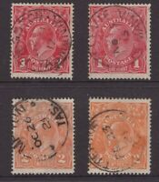 Tasmania 4 nice postmarks on KGV all start with K