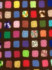 Granny Square Crochet Afghan Throw Rossanne Style Multi Color 40 X 60 In.
