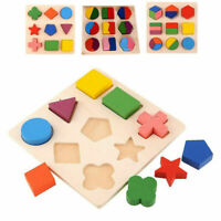 Baby Kids Wooden 3D Puzzle Jigsaw Toys Shape Sorter Educational Learning Toy UK