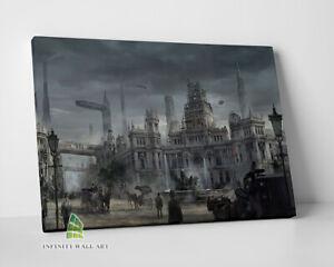 Futuristic Steampunk City LONDON Canvas Art Wall Art Print Picture Painting-C465